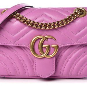 GUCCI Matelasse Leather Marmont Purse - Candy Pink